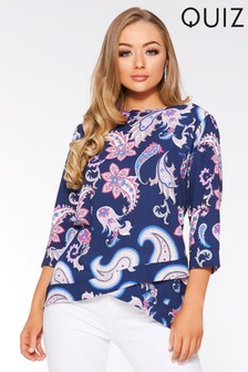 Quiz Paisley Print Cross Hem Top