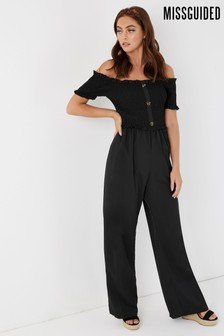 Missguided Shirred Horn Button Bardot Jumpsuit
