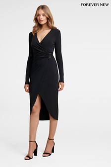 Forever New Asymmetric Hem Draped Jersey Dress