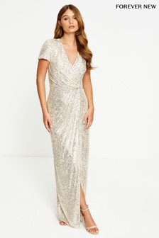 Forever New Sequin Drape Maxi Dress