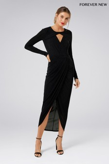 Forever New Lurex Wrap Long Sleeve Dress