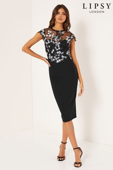 Lipsy 3D Butterfly Embroidered Midi Dress