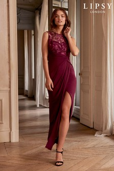 Lipsy Embroidered Ruched Split Maxi Dress