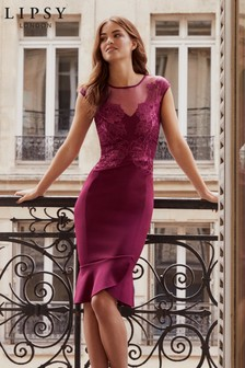 Lipsy Sequin Mesh Embroidered Midi Dress