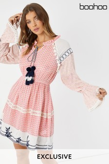 Boohoo Embroidered Pom-Pom Skater Dress
