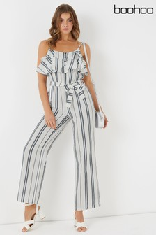 Boohoo Striped Frill Cami Jumpsuit