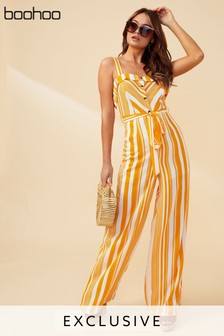 Boohoo Striped Frill Button Through Jumpsuit