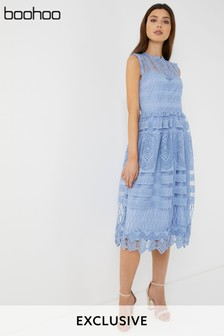 Boohoo Lace Midi Skater Dress