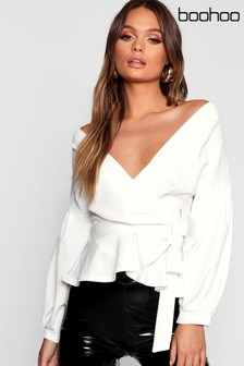 b2ffec4b97 Boohoo Bell Sleeve Wrap Over Top