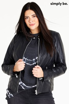 Simply Be Tab Collar Leather Biker Jacket