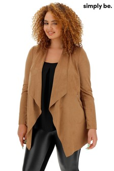 Simply Be Longline Waterfall Suede Jacket