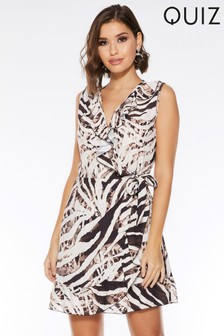 Quiz Animal Print Wrap Dress