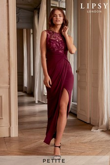 Lipsy Petite Embroidered Ruched Split Maxi Dress