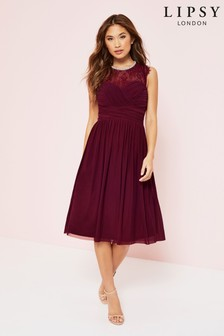 Lipsy Esme Lace Sleeve Mesh Midi Dress
