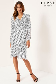 Lipsy Polka Dot Wrap Dress