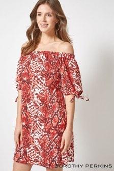 Dorothy Perkins Snake Print Bardot Dress