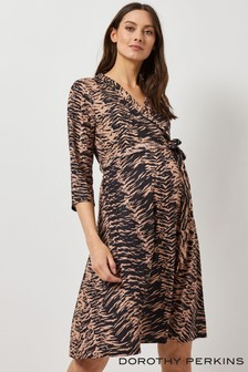 Dorothy Perkins Maternity Zebra Shawl Collar Dress