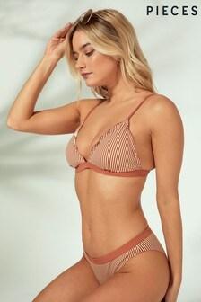 Pieces Stripe Frill Bikini Top