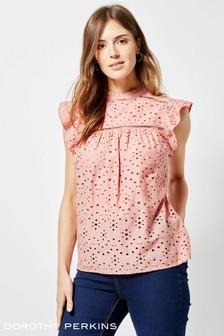 Dorothy Perkins High Neck Broderie Flutter Sleeve Blouse