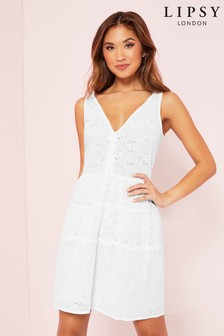 Lipsy Tiered Broderie Dress