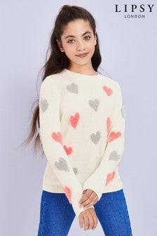 Lipsy Girl Fluffy Heart Jumper