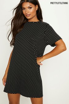 PrettyLittleThing Polka Dot T-Shirt Dress