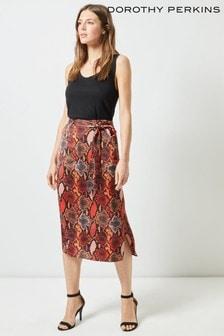 Dorothy Perkin Tall Split Snake Midi Skirt