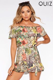 Quiz Printed Bardot Playsuit