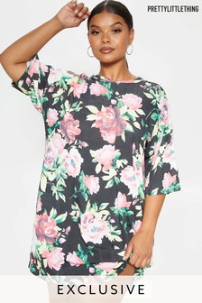 PrettyLittleThing Curve Floral Print T-Shirt Dress