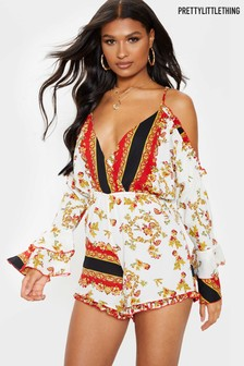 PrettyLittleThing Printed Strappy No Shoulder Playsuit