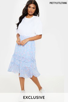 PrettyLittleThing Floral Tiered Hem Midi Skirt