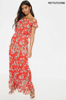 PrettyLittleThing Floral Ruffle Strappy Maxi Dress