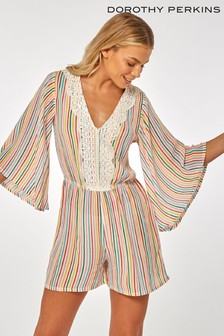 Dorothy Perkins Crochet Striped Playsuit