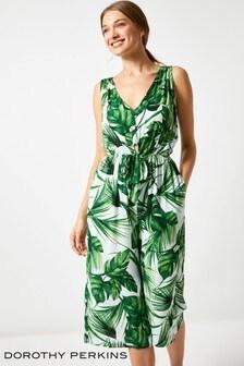 Dorothy Perkins Leaf Print Knot Jumpsuit