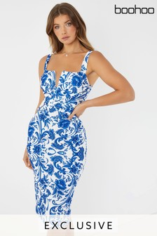 1f15b7faa3944 Boohoo Deep V Cross Front Midi Dress