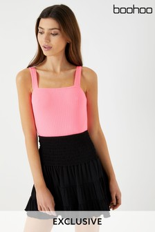 Boohoo Shirred Mini Skirt