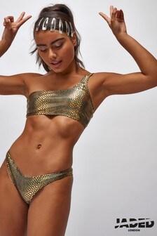 Jaded London Snake Foil One Shoulder Bikini Top