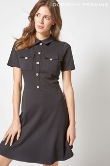 Dorothy Perkins Utility Horn Button Fit And Flare Dress