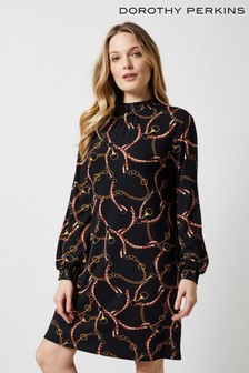 Dorothy Perkins Chain Shirred Neck Shift Dress