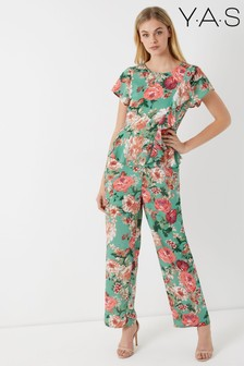 Y.A.S Short Sleeve Floral Jumpsuit With Peplum Waist Detail