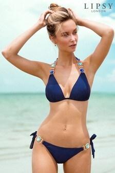 Lipsy Jewel Trim Bikini Top