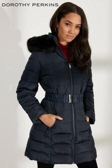 Dorothy Perkins Petite Faux Fur Hood Padded Jacket