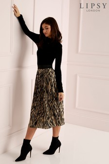 Lipsy Zebra Print Pleated Skirt