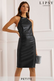 Lipsy Petite Faux Leather Whipstitch Halterneck Dress