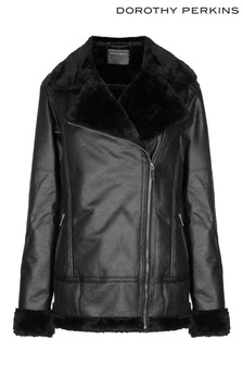 Dorothy Perkins Tall Faux Shearling Biker Jacket