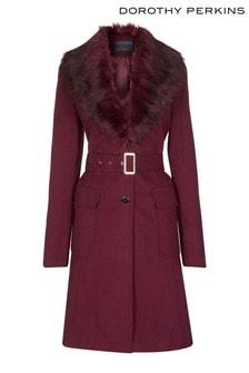Dorothy Perkins Tall Belt Detail Faux Fur Coat