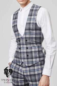 Twisted Tailor Hoffman Check Suit Waistcoat