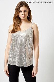Dorothy Perkins Oyster Sequin Bar Back Cami Top