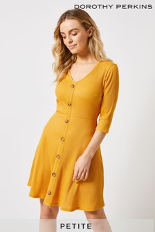 Dorothy Perkins Petite Rib Button Fit & Flare Dress