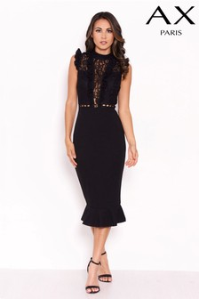 Lace Frill Top Bodycon Dress